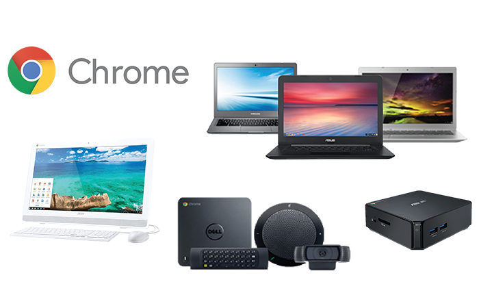 Collage of various chrome devices including a Chromebase, Chromebox, Chromebox for meetings, and three Chromebooks
