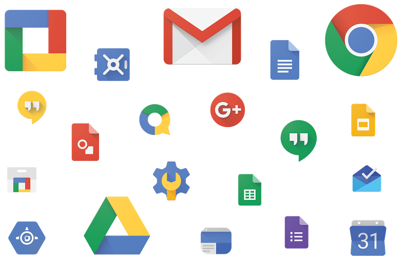 Cluster of Google Apps for Work icons