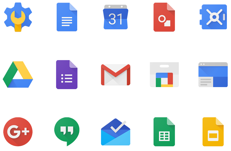 Cluster of G Suite icons