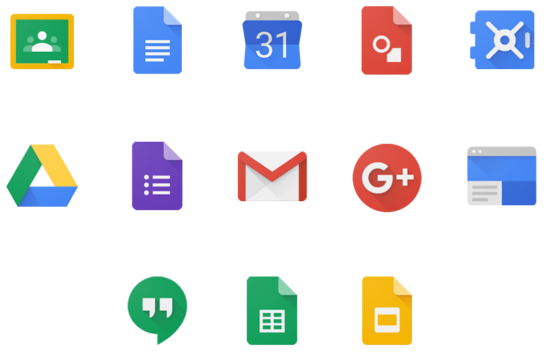 Cluster of G Suite for Education icons