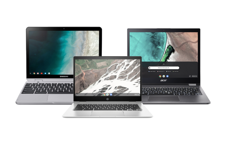 3 Chromebooks lined up next to each other