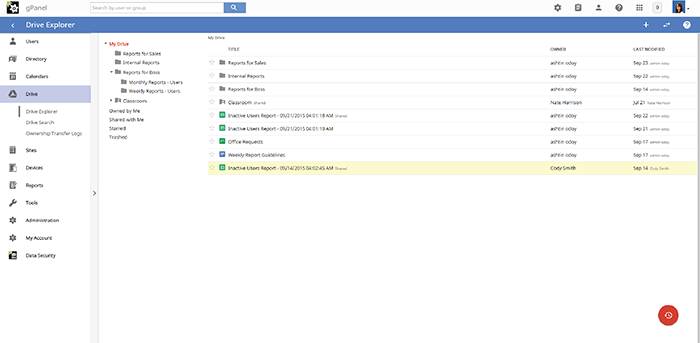 Screenshot of gPanel Drive Explorer screen