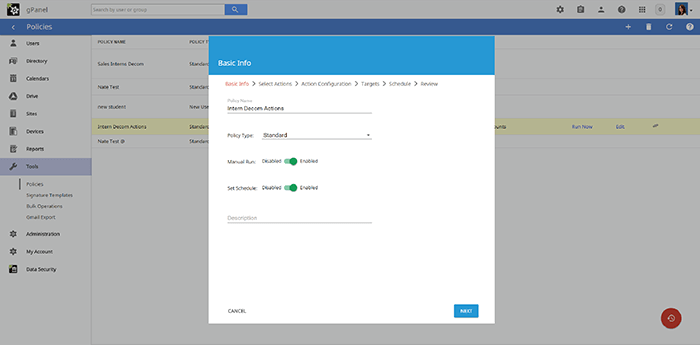 Screenshot of gPanel Policies screen